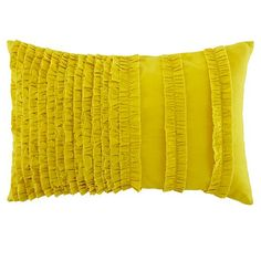 The Land of Nod | Yellow Ruffle Throw pillow Set in Girl Bedding
