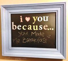 Old Frame + Chalkboard Vinyl = fun way to express love! Chalkboard Frame tutorial