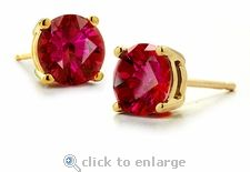 Ziamond Cubic Zirconia 1 Carat Each Round Ruby Look Stud Earrings in 14k yellow gold. #ziamond #cubic zirconia #studs #earrings #14kgold