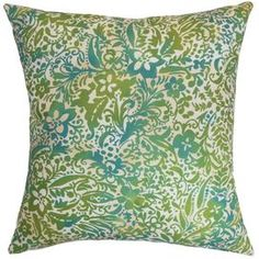 Add a springtime touch to your sofa, bed, or favorite arm chair with this plush pillow, showcasing a contemporary floral motif and chic palette.  Product: PillowConstruction Material: Cotton cover and down fillColor: Aqua greenFeatures:  Insert includedHidden zipper closureMade in the USA Dimensions: 18 x 18
