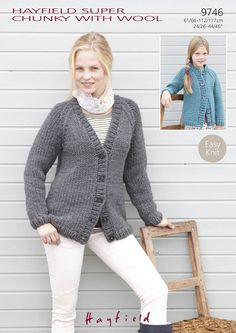 Easy Knit Cardigans in Hayfield Super Chunky with Wool - 9746