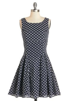 All About the Ambiance Dress. The beauty of todays garden get-together is undeniable, and thats thanks in part to you and this navy-blue, fit-and-flare dress! #blue #modcloth