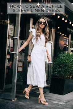 a step by step sewing tutorial to make this white linen midi dress | merricksart.com @fabric.com #MadeWithFabric #DIYFriday