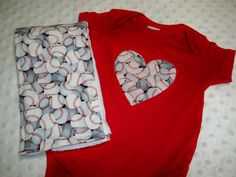 Baseball Heart Bodysuit & Burp Cloth Set  by grinsandgigglesbaby1, $17.99