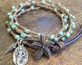 """Starfish & Mermaid Multi Wrap Crochet, Leather Bracelet, Anklet, Necklace """"Beach Chic"""" by Two Silver Sisters"""