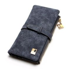 2018 New Fashion Women Wallets Drawstring Nubuck Leather Zipper Wallet Women's Long Design Purse Two Fold More Color Clutch Origami Design, Origami Dino, Leather Clutch, Pu Leather, Leather Totes, Leather Bags, Leather Fashion, Vegan Leather, Cute Wallets