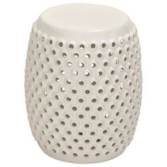 Traditional Accent And Garden Stools by Wildorchid -- this one is a  White Perforated Ceramic Foot Stool.  Comes in other colors.  Dimensions (inches): L 14 x W 14 x H 18.
