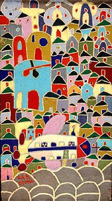 Adebisi Fabunmi, Nigerian, born Africa, Nigeria, Yoruba peoples Untitled (airplane flying over city) Fabric Airplane Flying, Fabric Yarn, Something Blue, African Art, Textile Art, Art Museum, Interior Inspiration, Needlepoint, Needlework