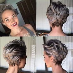 not entirely sure about the front view. Short Grey Hair, Short Hair With Layers, Short Hair Cuts, Short Bob Hairstyles, Pretty Hairstyles, Medium Hair Styles, Curly Hair Styles, Haircut And Color, Pixie Haircut