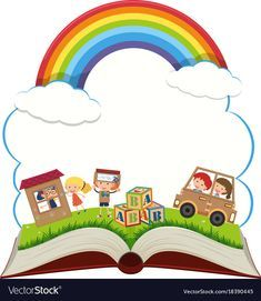 Book with kids in the park Royalty Free Vector Image Adobe Illustrator, School Border, Boarder Designs, Kindergarten Design, School Frame, School Murals, Kids Background, School Labels, School Painting