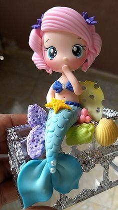 1 million+ Stunning Free Images to Use Anywhere Sculpey Clay, Cute Polymer Clay, Cute Clay, Polymer Clay Projects, Mermaid Birthday Cakes, Mermaid Cakes, Fondant Cake Toppers, Fondant Figures, Fondant Decorations