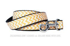 """The Sunshine Yellow Signature Leash is available in two widths – 1"""" for larger dogs, and 3/8"""" for small and toy breeds. Both versions are 6' long, and feature a looped handle and a heavy-duty nickel-plated swivel clip for secure leash attachment."""