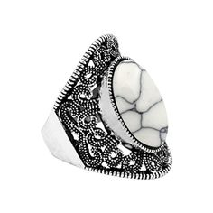 JW Collection Vintage Antique Silver Plated Victoria Flower Oval White Turquoise Ring >>> You can get more details by clicking on the image.
