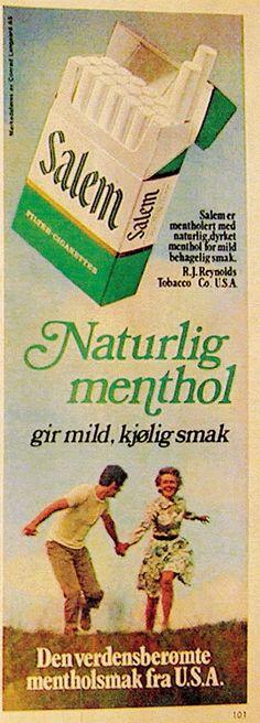 Salem Menthol sigaretter Dipping Tobacco, Vintage Posters, Smoke, Poster Vintage, Smoking