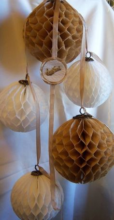 How to Make Honeycomb Paper Balls from Coffee Filters by Donna Layton at Under the Red Roof Blog