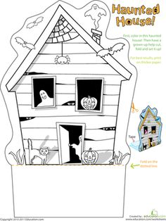 Halloween Preschool Kindergarten Holiday Paper Projects Worksheets: Haunted House Worksheet