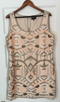 """Laszio Sequin Cocktail dress by Hale Bob. Ivory with pink and gray sequins. Size large. Excellent condition. Length: 36"""".   eBay!"""
