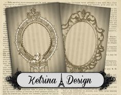 Vintage Antique Frames ATC 2.5 x 3.5 cards by KetrinaDesign