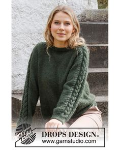 Genser | Knittingroom Knitting Patterns Free, Knit Patterns, Free Knitting, Drops Design, Raglan Pullover, Pullover Sweaters, Work Tops, Knit Crochet, Sweater Design