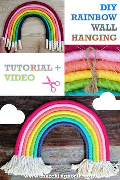 How to Make a DIY Rainbow Wall Hanging - Do it yourself! - Learn how to make this easy DIY Rainbow Wall Hanging out of cotton macrame rope and yarn. Create a - Yarn Crafts For Kids, Craft Stick Crafts, Diy Crafts To Sell, Easy Crafts, Easy Diy Room Decor, Diy Nursery Decor, Diy Yarn Decor, Nursery Crafts, Bedroom Decor