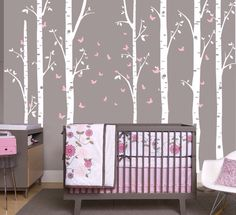 Birch trees with butterfly's