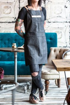 Barista Grey Denim Apron with Gold Detail and Cross Leather Straps.