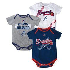 MLB Atlanta Braves Baby Bodysuits 3 Pack