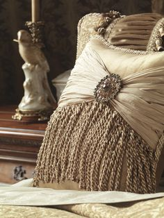 Opulent Joliet collection by Eastern Accents - love ruched fabric, tassles and fringe, and brooches