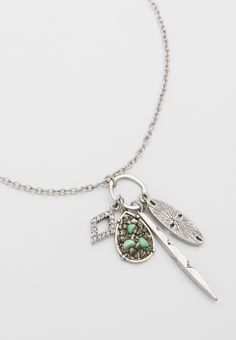 cluster pendant necklace with rhinestones, pyrite, and turquoise (original price, $16.00) available at #Maurices