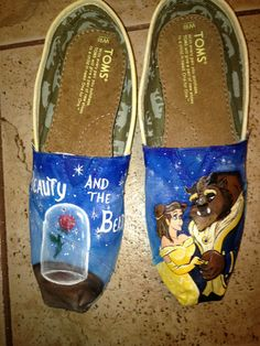 Hand Painted Beauty And The Beast Toms. $140.00, via Etsy.