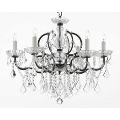 Versailles 6-Light Iron and Crystal Black Chandelier-T40-188 - The Home Depot