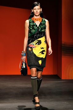 Prada Spring 2014 RTW. mural. embelished. color. luxe sport. tube socks. shift. 60s. pop art. #Prada #Spring2014 #MFW