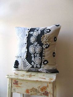 Lace and Wool Cushion Cover, Pillow, Embroidery, Cream and Grey, Vintage Lace, Home Decor. $110.00, via Etsy.
