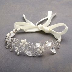 Designer Bridal Ribbon Headband with Hand Painted Silver Leaves #handmade. New at www.bellabridalandheirlooms.com