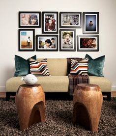 decorating with portraits- tight composition ensures a neat display of many images without looking cluttered