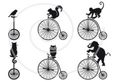 Illustration about Vintage bicycle with animals, vector set. Illustration of cycling, elephant, sport - 26877258 Velo Retro, Retro Bicycle, Vintage Bicycles, Tandem Bicycle, Old Bicycle, Bicycle Art, Bicycle Pictures, Monocycle, Dog Clip Art