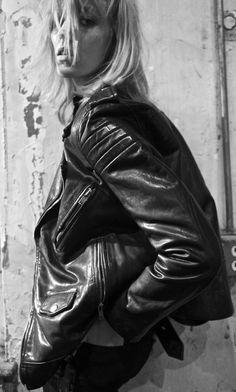 Anja Rubik in BLK DNM   Photography: Johan Lindeberg