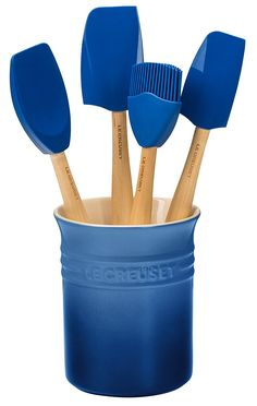 Le Creuset Craft Series Utensil Set with Crock, Marseille Blue Kitchen Accessories, Stoneware Crocks, Kitchen Utensil Set, Cookware Set, Wooden Handles, Utensils, Craft, Kitchen Tools, Kitchen Gadgets