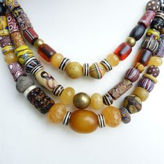 Exclusive antique Venetian Beads -African Amber Trade Beads necklace