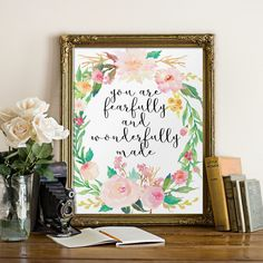 Nursery bible verse Nursery art Fearfully and by TwoBrushesDesigns