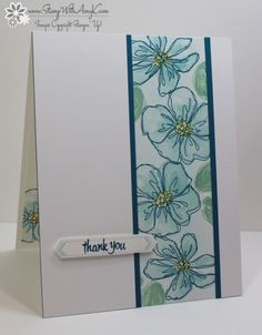 I used the Stampin' Up! Penned & Painted stamp set to create my card for the Happy Stampers blog hop. We've got a sketch challenge this week and this is what I created for it.  And here is the sketch