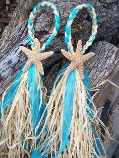 Small Starfish And Raffia Decoration Beach Wedding By OneFunDay