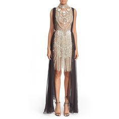 Women's Marchesa Fringed Beaded Sleeveless Sheath Dress (£6,055) ❤ liked on Polyvore featuring dresses, silver, white sleeveless dress, fringe cocktail dress, beaded sheath dress, embellished cocktail dress and fringed dresses