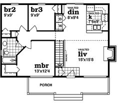 Home Plans HOMEPW23880 - 988 Square Feet, 3 Bedroom 1 Bathroom Country Home with