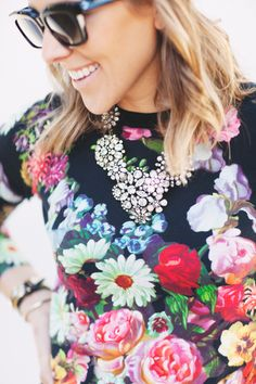 j.crew necklace, oil painting floral sweater | damsel in dior ... Floral trend!