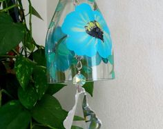 Glass Wind Chime Upcycled wine bottle wind chime by LindasYardArt