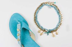 """Items similar to Jeweled leather sandal """"Sea Bliss"""" on Etsy Leather Sandals, Turquoise Bracelet, Bliss, Sea, Jewels, Trending Outfits, Unique Jewelry, Bracelets, Handmade Gifts"""