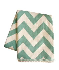 Chevron Knit Throw Blanket, Aqua