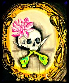 Skull scissors painting by BONNY
