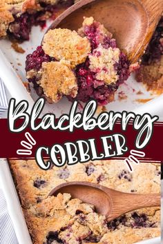 """With a sweet, fruity filling and a buttery golden crust, this Blackberry Cobbler takes a classic cobbler beyond an everyday dessert. Quick, easy, and made with only 5 ingredients (including a cake mix), it's a simple, """"piece of cake"""" recipe that tastes delightfully gourmet."""
